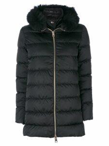 Herno fur trim hooded coat - Black