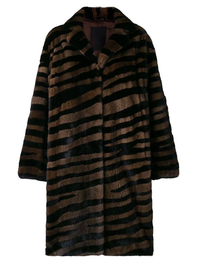 Liska oversized striped fur coat - Brown