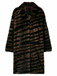 Liska oversized striped fur coat - Brown