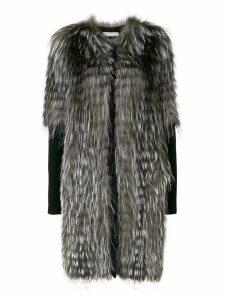 Liska oversized half sleeve fur jacket - Grey