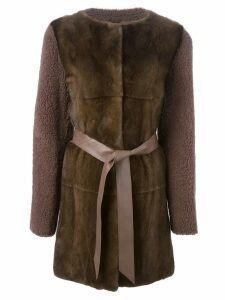 Liska contrasting front belted coat - Brown
