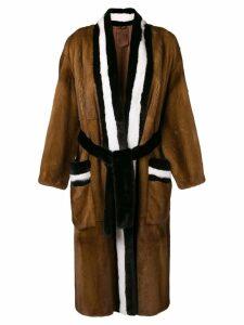 Liska contrast fur coat - Brown