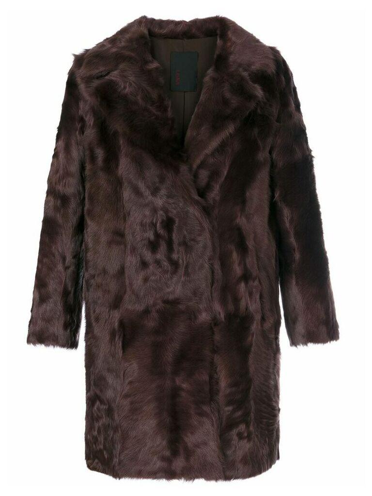 Liska button up fur coat - Red