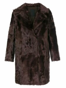 Liska button up fur coat - Red