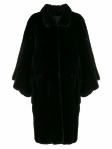 Liska cropped sleeves fur coat - Black