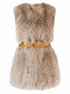 Blancha belted gilet coat - Neutrals