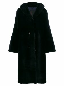 Liska hooded fur coat - Blue