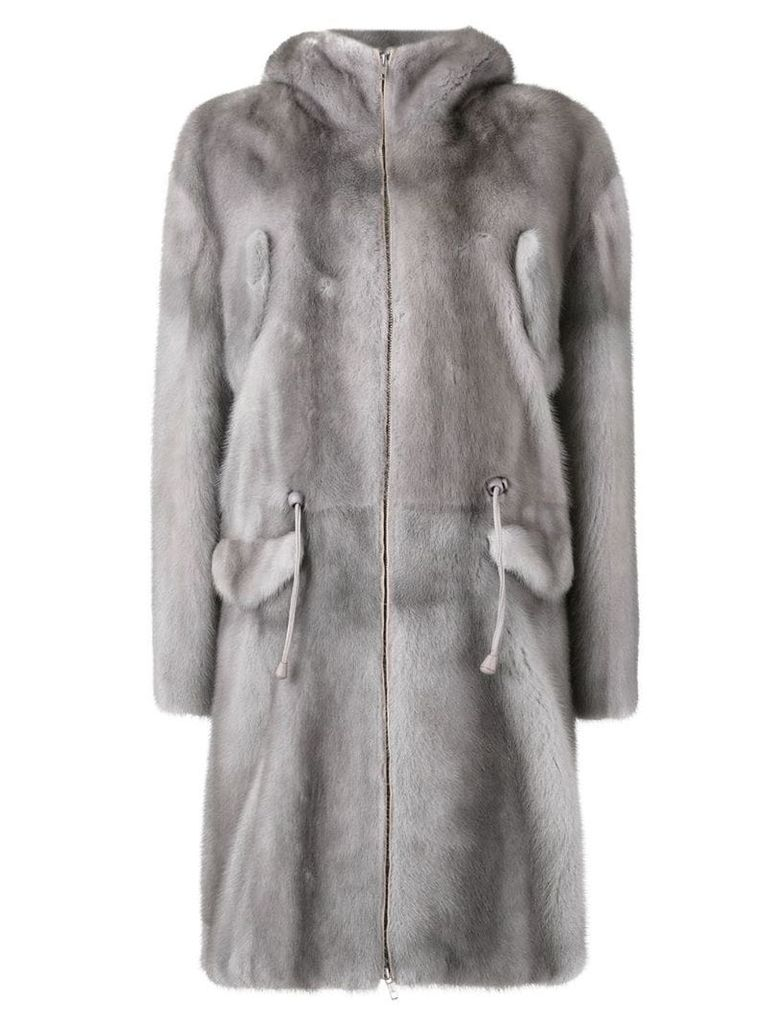 Liska midi zipped coat - Grey