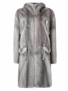 Liska midi zipped coat - Grey