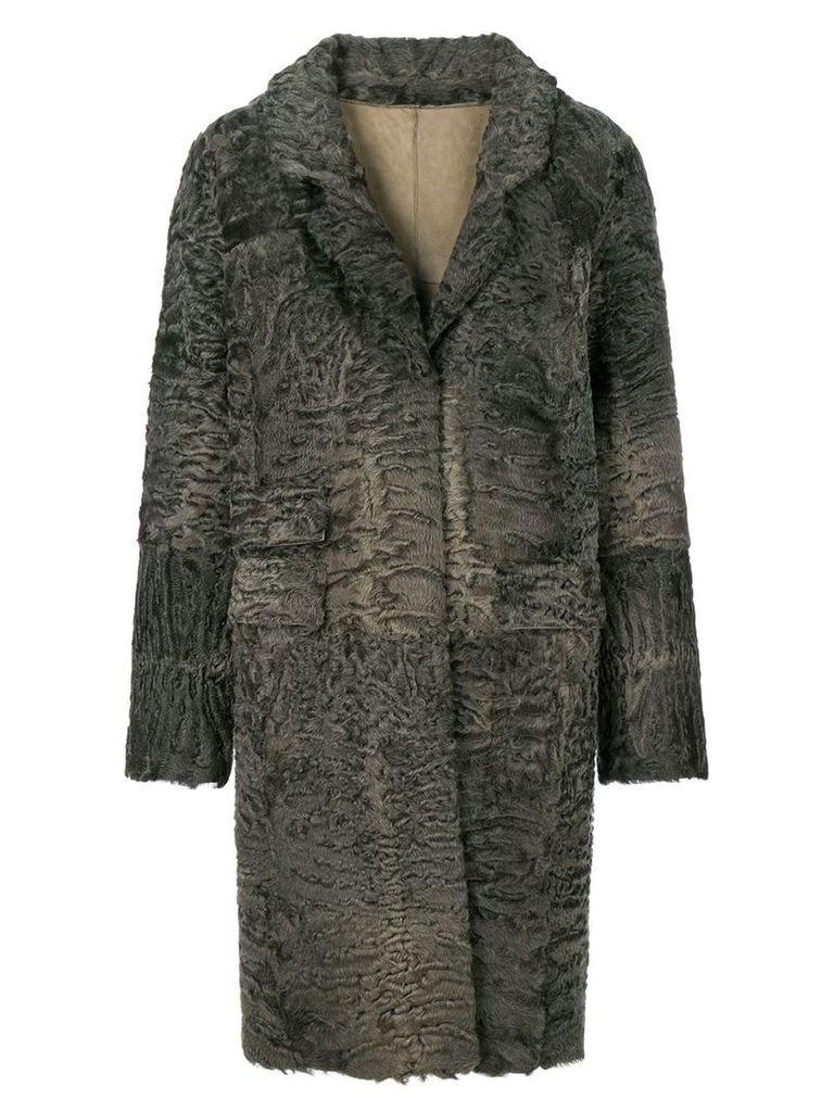 Liska textured single-breasted coat - Grey
