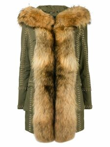 Philipp Plein fur trimmed coat - Green