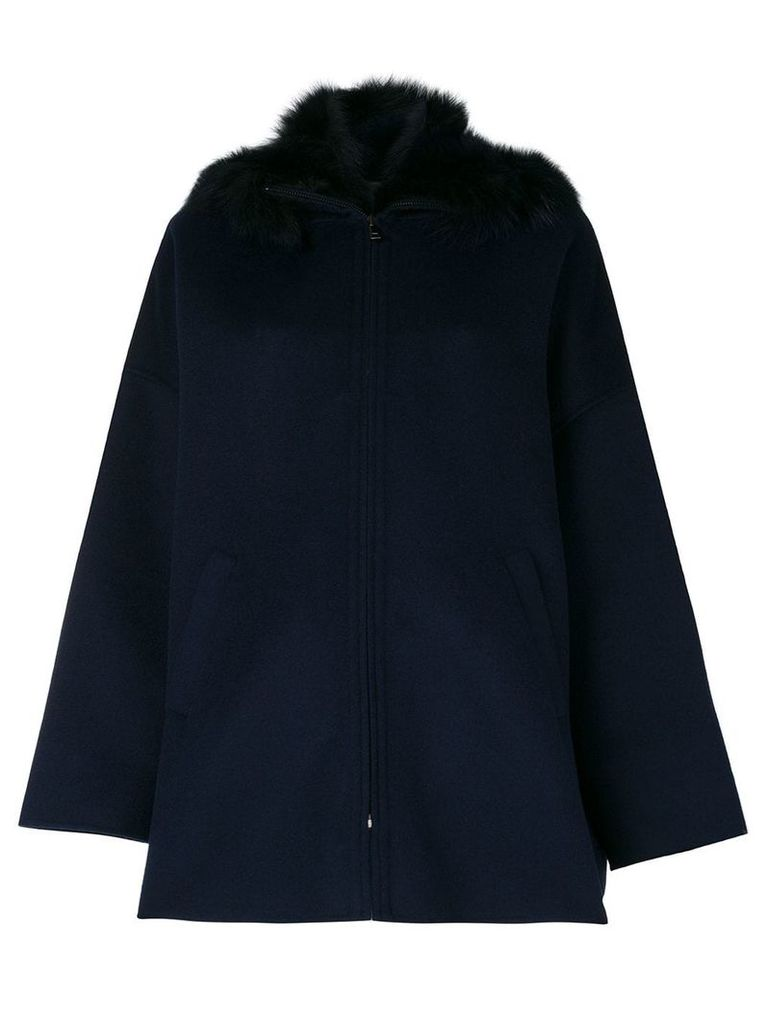 P.A.R.O.S.H. fur trim hooded coat - Blue