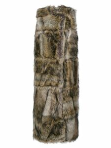 Stella McCartney faux fur sleeveless coat - Brown