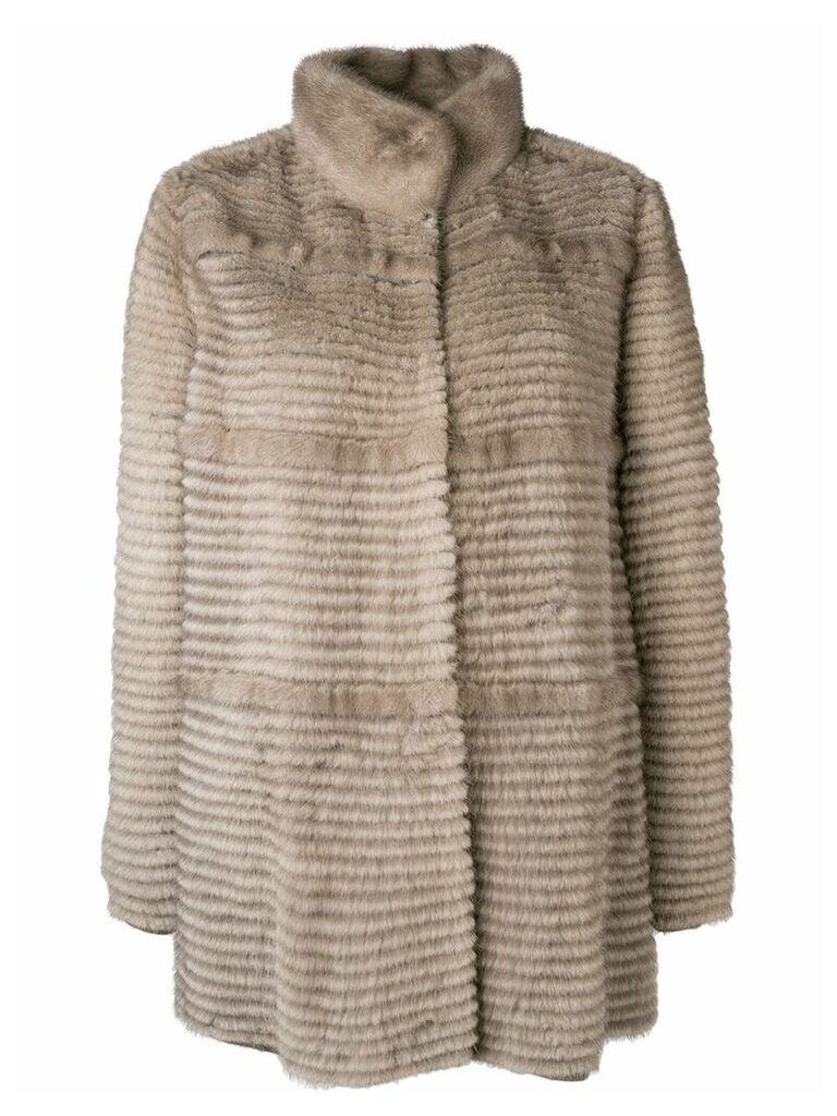 Liska paneled mid-length coat - Neutrals