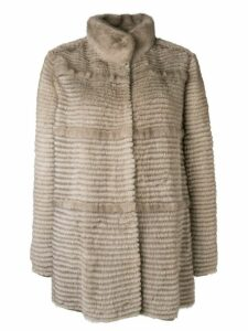 Liska paneled mid-length coat - NEUTRALS