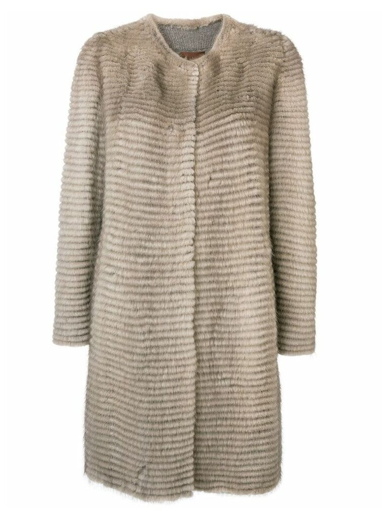 Liska collarless mid-length coat - Neutrals