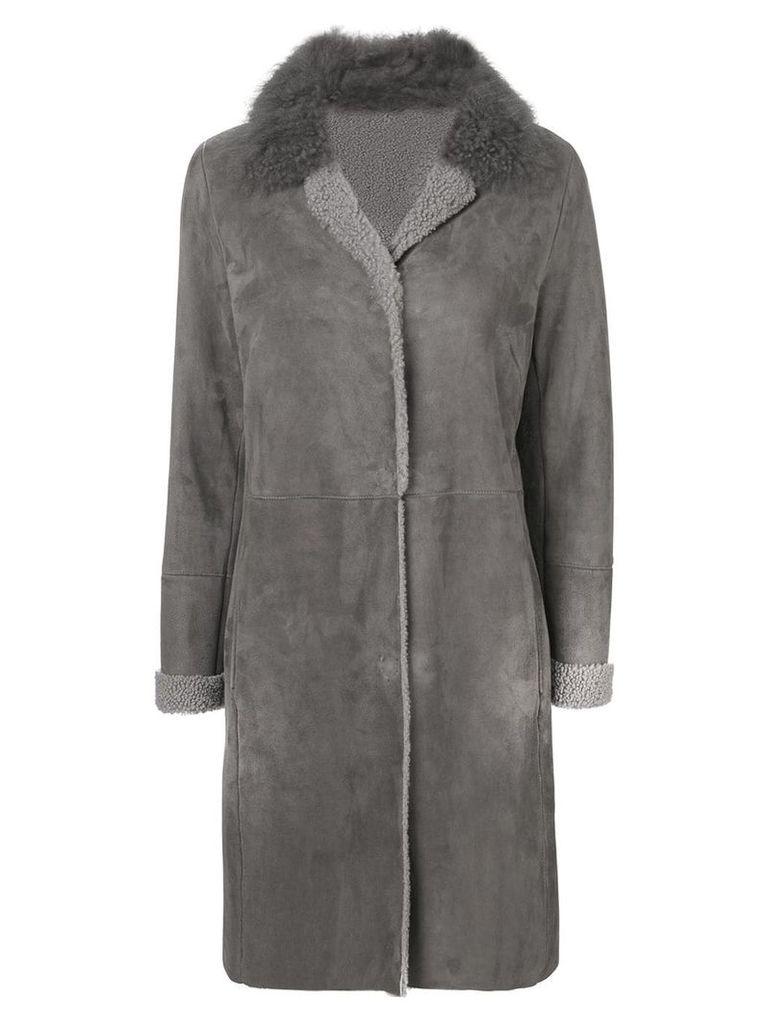 Liska fur collar coat - Grey