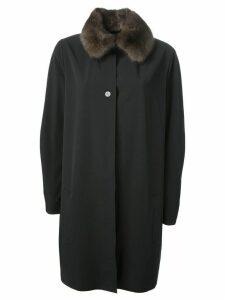 Liska sable collar overcoat - Black