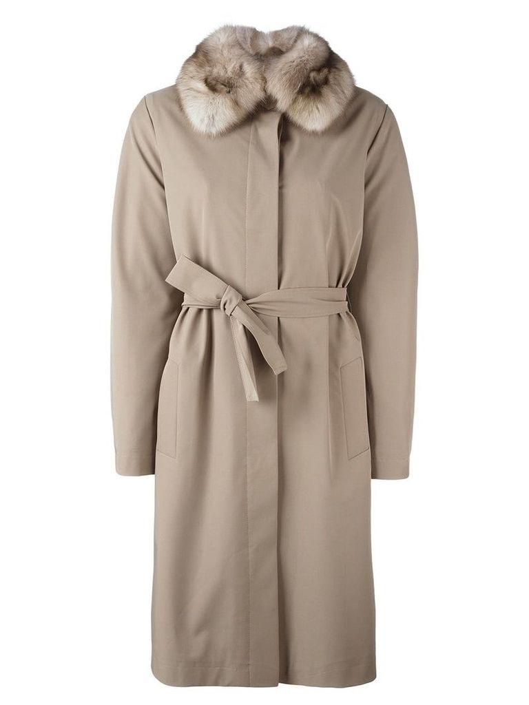 Liska sable fur collar coat - Neutrals