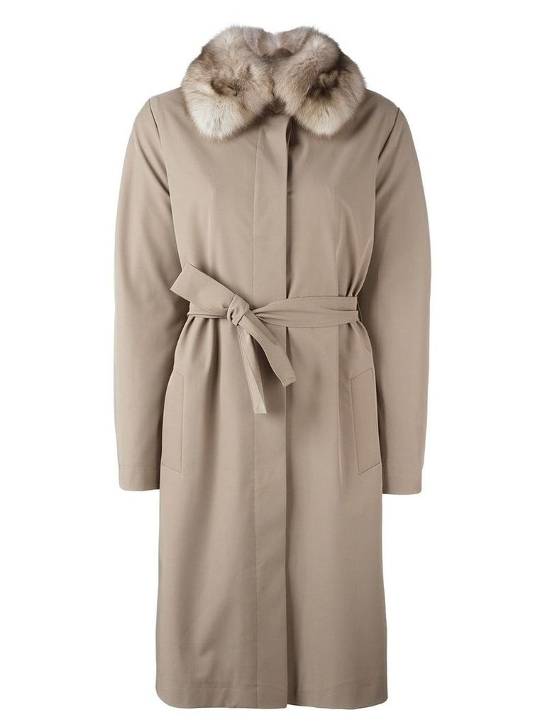 Liska sable fur collar coat - Neutrals