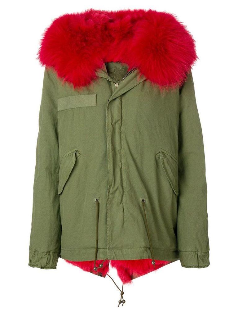 Mr & Mrs Italy fox fur hooded short coat - Green