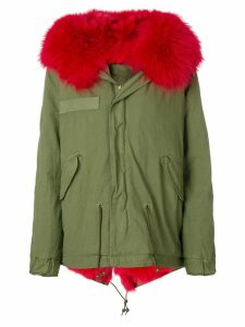 Mr & Mrs Italy fox fur hooded short coat - Green