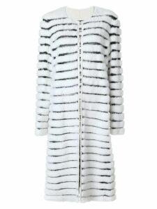 Liska striped fur coat - White