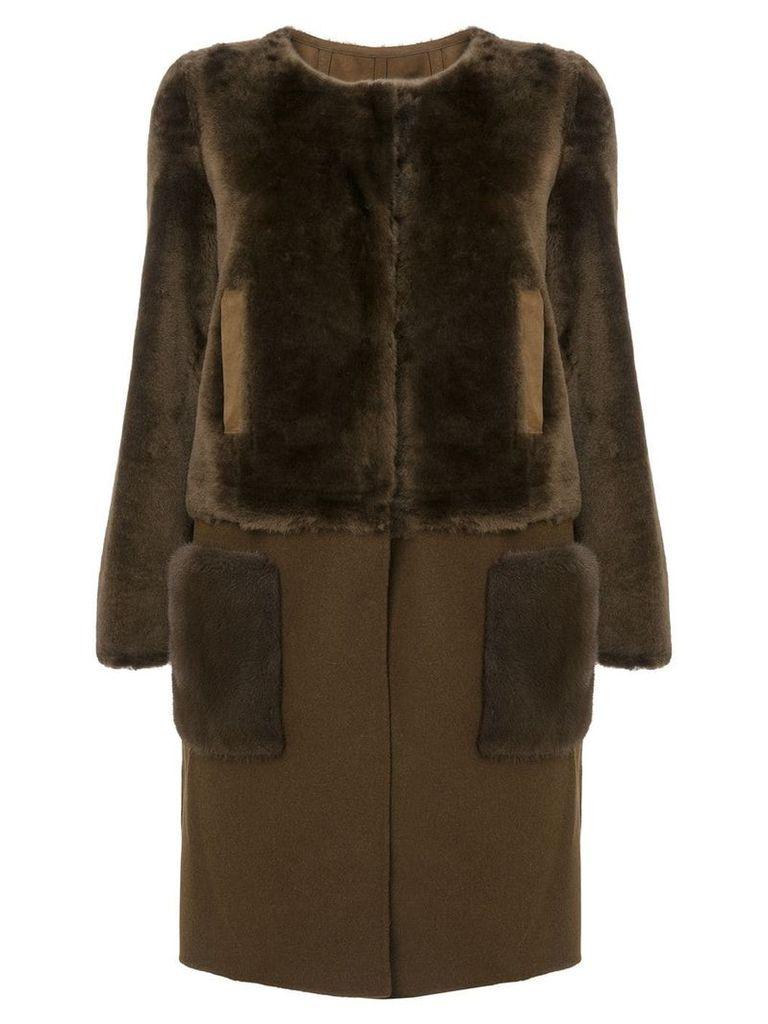 Yves Salomon detachable bottom coat - Brown