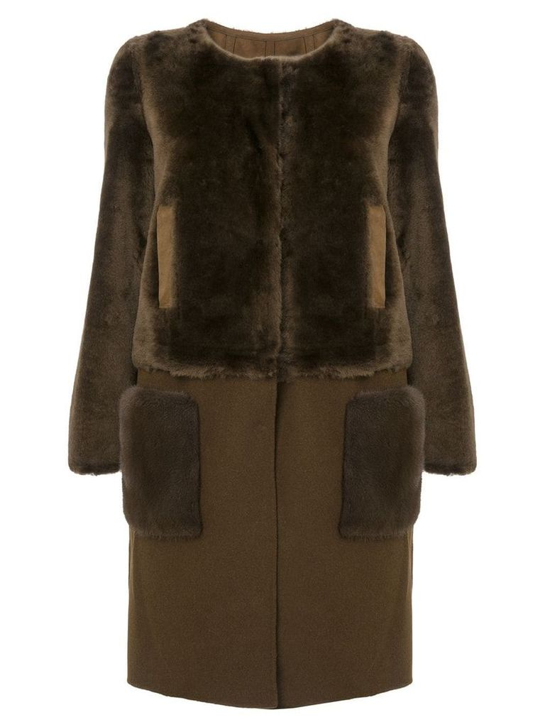 Yves Salomon detachable bottom coat - Brown