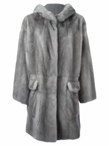Liska hooded mink fur coat - Grey