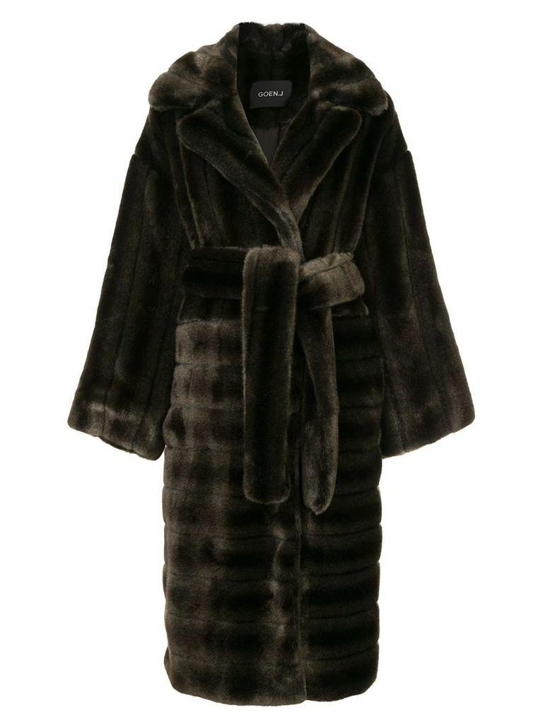 Goen.J oversized faux-mink coat - Brown