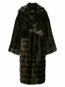 Goen.J oversized faux-mink coat - Brown