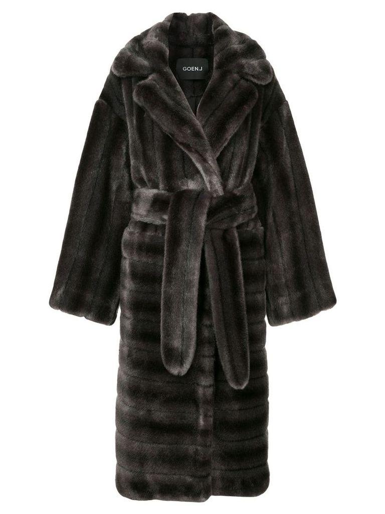 Goen.J oversized faux-fur coat - Grey