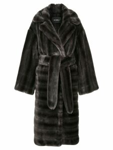 Goen.J oversized faux-fur coat - Grey