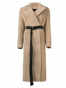 Blancha belted fur coat - Neutrals