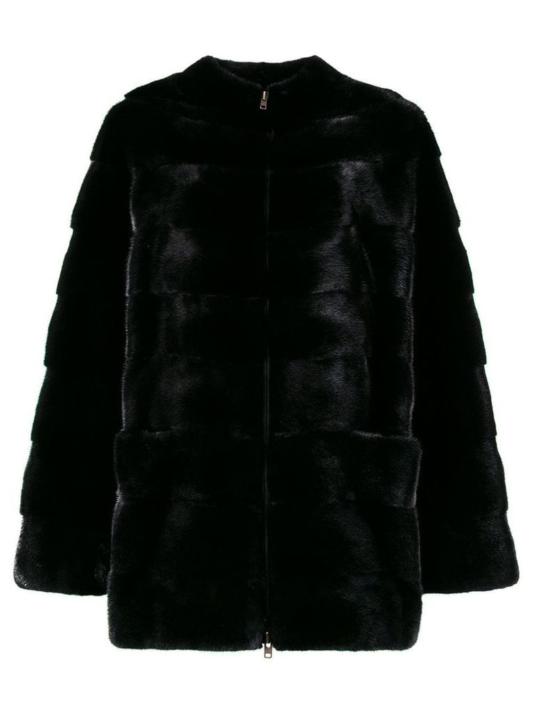 Liska collarless coat - Black