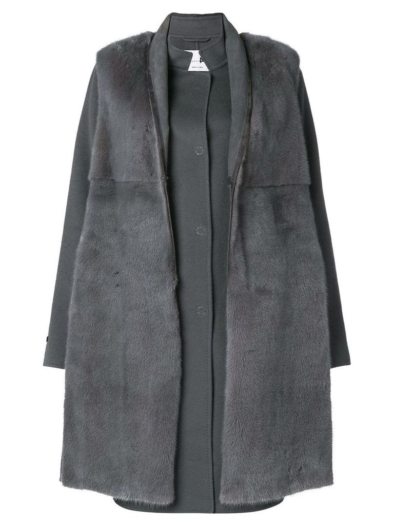 Manzoni 24 mink fur fitted coat - Grey