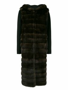 Liska hooded fur coat - Brown