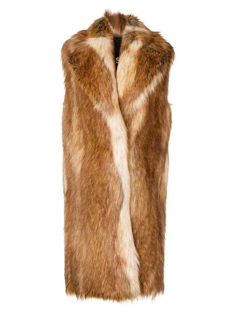 Philosophy Di Lorenzo Serafini faux fur sleeveless coat - Brown