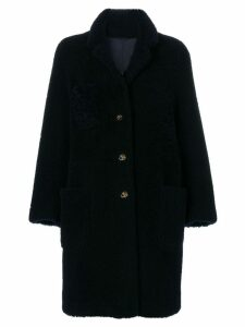 Thom Browne Reversible Sack Overcoat In Dyed Shearling - Blue
