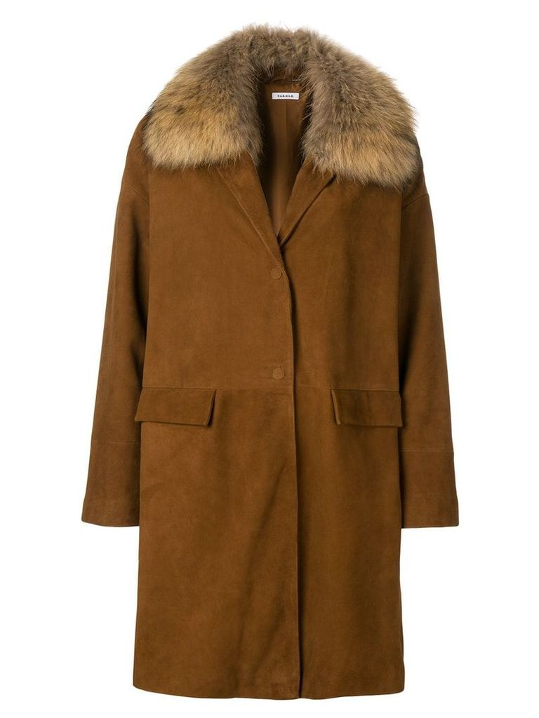 P.A.R.O.S.H. raccoon fur collar coat - Brown