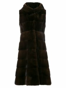 Liska sleeveless hooded fur coat - Brown