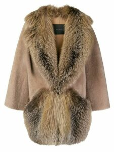 Blancha fur trimmed cocoon coat - Brown
