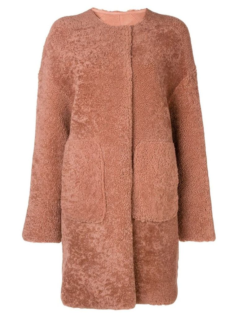 Yves Salomon Meteo curly merino coat - Pink