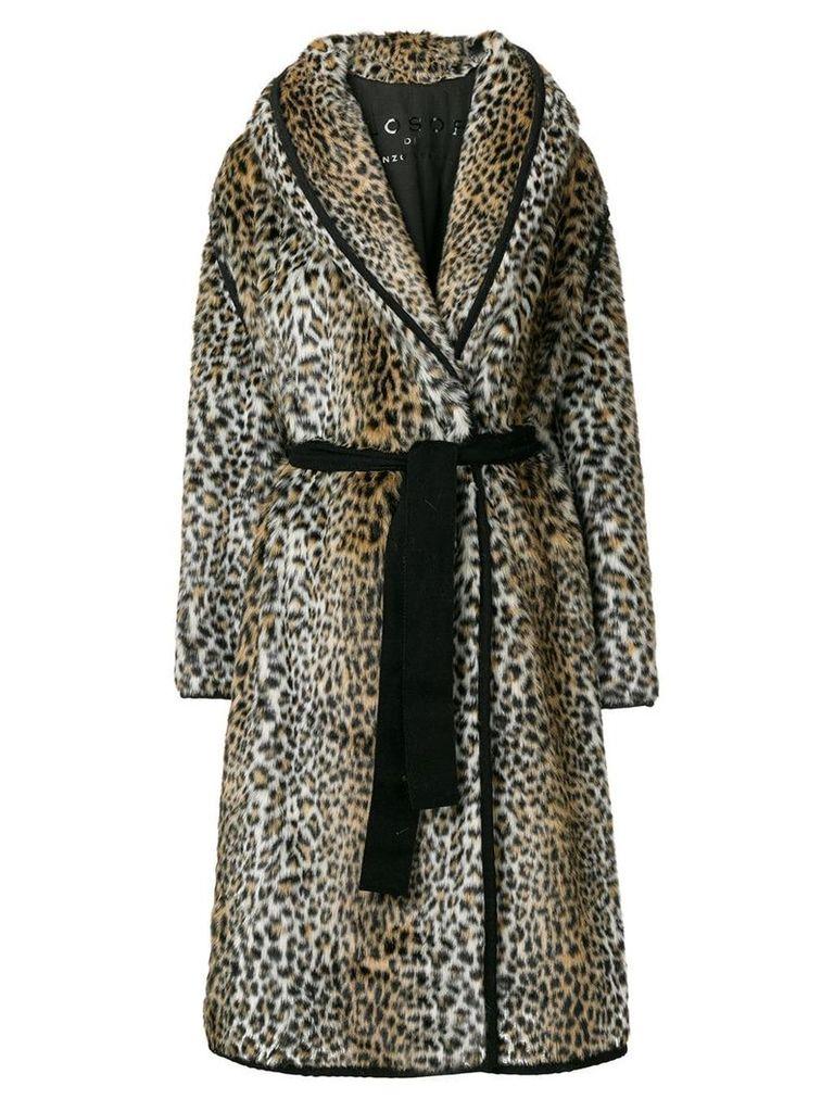 Philosophy Di Lorenzo Serafini faux fur leopard print coat - Brown