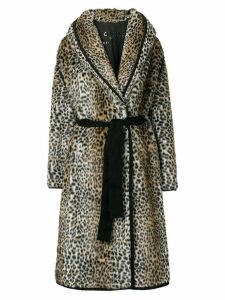 Philosophy Di Lorenzo Serafini faux fur leopard print coat - Brown
