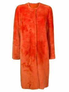 Desa 1972 collarless midi coat - Yellow