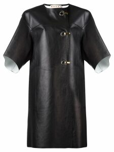 Marni hook and eyelet leather coat - Black