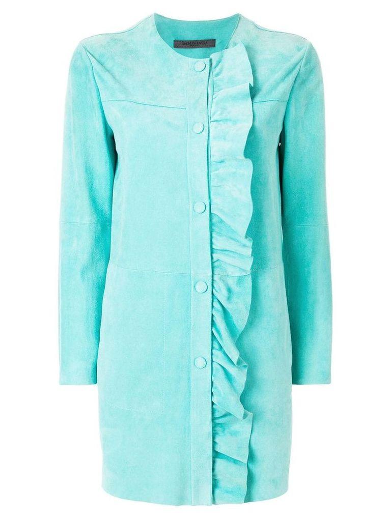 Simonetta Ravizza ruched trim coat - Blue