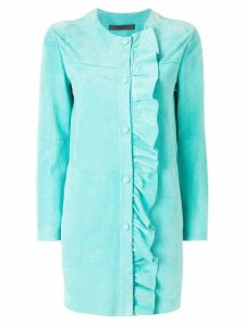 Simonetta Ravizza ruched trim coat - Blue